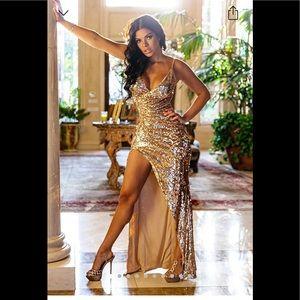 NWT Fashion Nova Golden Dress